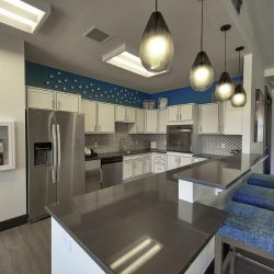 Large apartment clubhouse kitchen with modern appliances - Elements at Prairie Center