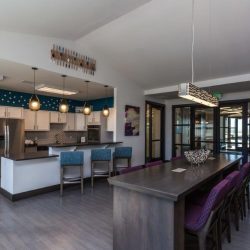 Apartment clubhouse with full kitchen and desk - Elements at Prairie Center