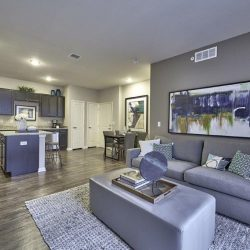 Open concept living room and kitchen in an apartment home - Elements at Prairie Center