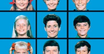 Faces from The Brady Bunch TV Show fill nine blue squares, depicting a blended family.