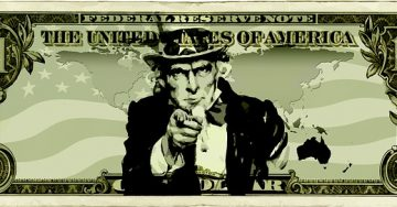 Uncle Sam points at you on the face of a one dollar bill
