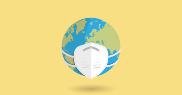 The globe wearing a mask against a yellow background.