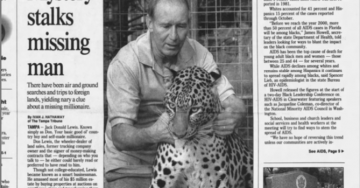 """Mystery Stalks Missing Man"" reads a newspaper article with a picture of Jack Donald Lewis and an Asian leopard."