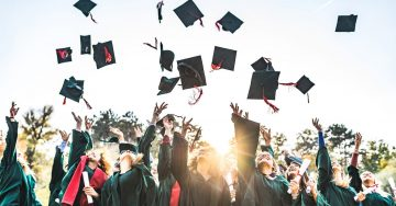 High school graduates toss their caps outside in a large group in the setting sun.