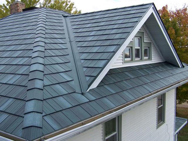 This picture shows the unique look of a metal roof on a home.