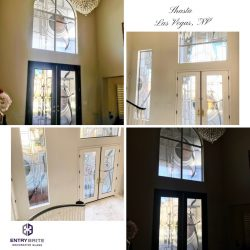 """Gridded image of four pictures. A custom entry way door and window project in a high vaulted ceiling home. With words """"Shasta. Las Vegas, NV""""."""