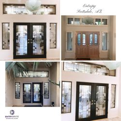 """Gridded image of four pictures. Before picture is of a set of french doors with windows around them. After pictures are of the door now black, with a circular cut glass pattern on the door and the windows. With words """"Entropy. Scottsdale, AZ""""."""