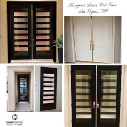 """Gridded image of four pictures. Before picture is of a plain, white, wood set of french doors. After pictures show the door is now glossy black with a horizontal slated glass design. With words """"Horizons Laser Cut Iron. Las Vegas, NV""""."""