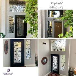 """Gridded image of four pictures. Before picture shows an entry door that is brown and wooden. After pictures show a custom iron and glass door with any ivy design. With words """"Linfandel. Gilbert, AZ""""."""