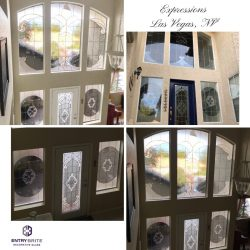"""Gridded image of four pictures. A custom entry way door and window project in a high vaulted ceiling home. With words """"Expressions. Las Vegas, NV""""."""