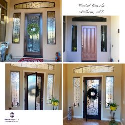 """Gridded image of four pictures. Before picture shows a plain brown entry door, with plain windows on either side and above. After pictures show the door now features vented glass and the door and windows have custom wrought iron designs. With words """"Vented Cassela. Anthem, AZ""""."""