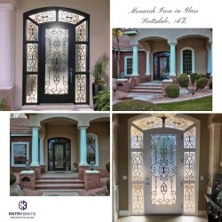 """Gridded image of four pictures. Pictures show the inside and outside of a home, showcasing a new wrought iron in glass door and window. With words """"Monarch Iron in Glass. Scottsdale, AZ""""."""