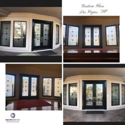 """Gridded image of four pictures. Custom door and matching windows with a 3 diamond pattern on them. With words """"Custom Glass. Las Vegas, NV""""."""