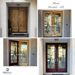 """Gridded image of four pictures. Before picture shows a brown, wooden set of french doors. After pictures show the wood on the door has been restained cherry, and a custom stained glass has been inserted into the door. With words """"Shasta. Glendale, AZ""""."""