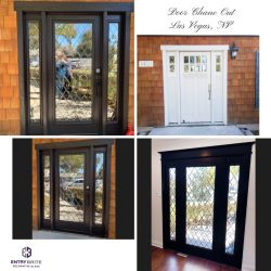 """Gridded image of four pictures. Before picture is of a white, wooden entry door with small glass windows at the top. After pictures show the door is now black-brown with large, diamond-patterned glass inserts. With words """"Door Change Out. Las Vegas, NV""""."""