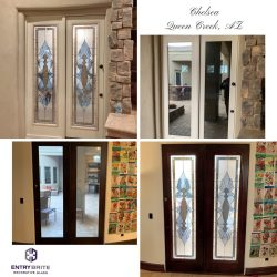 """Gridded image of four pictures. Before picture shows a set of french doors with large panes of glass. After pictures show the glass has now been customized with a blue and white stain. With words """"Chelsea. Queen Creek, AZ""""."""