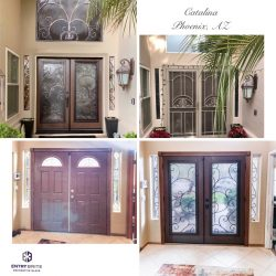"""Gridded image of four pictures. Before picture shows dark brown set of french doors. After pictures show that a wrought iron-in-glass custom design has been added to the doors and the surrounding windows to match. With words """"Catalina. Phoenix, AZ""""."""
