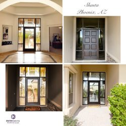 """Gridded image of four pictures. Before picture is a brown wooden door with open windows all around it. After pictures show the door now has a large glass insert in the middle which has a matching stain to the surrounding windows. With words """"Shasta. Phoenix, AZ""""."""