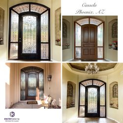 """Gridded image of four pictures. Before picture is of a dark brown door with a wrap-around glass window. After pictures show the door now has wrought iron and glass on the door as well as the windows. With words """"Cassela. Phoenix, AZ""""."""