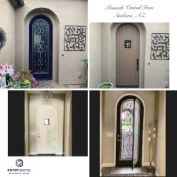 """Gridded image of four pictures. Before picture is of an arched, tan entry door. After pictures show the door is now dark blue and has an intricate wrought iron-in-glass design, with a vented glass that pops out to the interior of the home. With words """"Monarch Vented Iron. Anthem, AZ""""."""