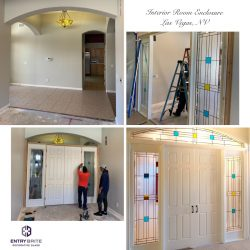 """Gridded image of four pictures. 3 pictures of the process of building a custom door. One picture of an empty archway inside a home. Two pictures of workers customizing the door. 1 picture of the final product, a white set of french doors with custom blue and yellow and clear glass wrapping around. With words """"Interior Room Enclosure. Las Vegas, NV."""""""