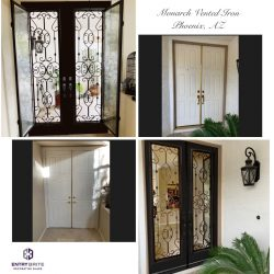 """Gridded image of four pictures. Before pictures show a plain white wooden set of french entry doors. After pictures show the door has been upgraded with vented iron-in-glass. With words """"Monarch Vented Iron. Phoenix, AZ""""."""