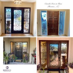 """Gridded image of four pictures. Before picture shows a dark brown wooden entry door with two plain windows on either side. After pictures show the door has been restained darked and now features a custom wrought iron-in-glass insert. With words """"Cassela Iron in Glass. Phoenix, AZ""""."""