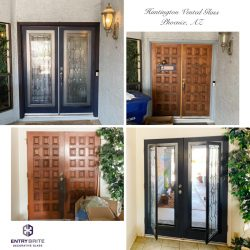 """Gridded image of four pictures. Before pictures show a french door made of wood with a gridded bevel pattern. After pictures show the door has been painted black and vented, custom, iron glass inserts have been added to the door. With words """"Huntington Vented Glass. Phoenix, AZ""""."""