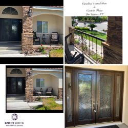 """Gridded image of four pictures. Before picture of patio without a fence. After pictures of a new wrought iron and glass door with a matching custom fence. With words """"Catalina Vented Iron & Custom Fence. Las Vegas, NV""""."""