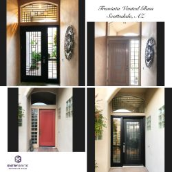 """Gridded image of four pictures. Before pictures show a red vertically slated entry door. After pictures show the door has gotten a glass insert. The insert and the surrounding windows have a matching rectangle, modern design. With words """"Traviata Vented Glass. Scottsdale, AZ""""."""