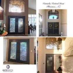 """Gridded image of four pictures. Before picture shows an entryway door with horizonal iron gate. After pictures show the door got iron-in-glass inserts and a matching window above the door. With words """"Cassela Vented Iron. Phoenix, AZ""""."""