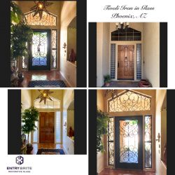 """Gridded image of four pictures. Before pictures are of an entry door that is studded wood with windows above it, and on either side. After pictures show that the door has been painted black, and now has a custom glass insert on the door and all surrounding windows. With words """"Tivoli Iron in Glass. Phoenix, AZ""""."""