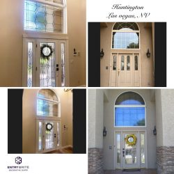 """Gridded image of four pictures. Before picture is of a white wooden french door entry way with window units on either side and a large window above it. After pictures show the doors and side windows now feature large panes of patterned glass. The window above the door matches too. With words """"Huntington. Las Vegas, NV""""."""