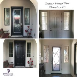 """Gridded image of four pictures. Before pictures show a plain white door on the inside, and a black door on the exterior. After pictures show the door has been upgraded with custom vented glass with a wrought iron circular design. With words """"Cosmos Vented Iron. Phoenix, AZ""""."""