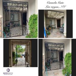 """Gridded image of four pictures. Before picture is of a green house area without a gate. After pictures show that a custom wrought iron gate has been added. With words """"Cassela Gate. Las Vegas, NV""""."""