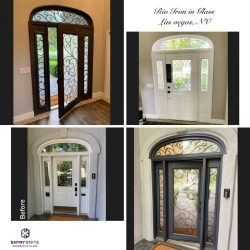 """Gridded image of four pictures. Before picture shows a white door with matching windows. After pictures show the door has been painted darker and the glass has been changed out with a custom iron-in-glass design. With words """"Rio Iron in Glass. Las Vegas, NV""""."""