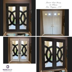"""Gridded image of four pictures. Before picture is of a plain, wood, white set of french doors. After pictures show a custom new door, black and white, with glass and big modern circles. With words """"Laser cut Iron in Glass. Las Vegas, NV""""."""