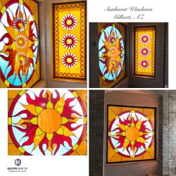 """Gridded image of four pictures. Two different stained glass windows, featuring sun designs. With words """"Sunburst windows. Gilbert, AZ""""."""