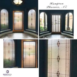 """Gridded image of four pictures. Before picture is of a slated window door, with one arched plain window on either side. After pictures show the door and windows with new matching, patterned glass. With words """"Hampton. Phoenix, AZ""""."""