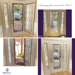 """Gridded image of four pictures. Before picture is of a custom, stationary glass door. After pictures show the door is now vented, and the middle class can pop out. With words """"stationary glass converted to Vented""""."""