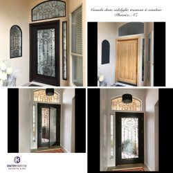 """Gridded image of four pictures. Before picture is a light wood door. After pictures are a black glass and iron door with custom windows to match. With words"""" Cassela door, sidelight, transom & window. Phoenix, AZ""""."""