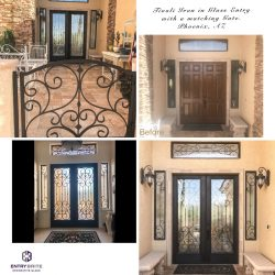 """Gridded image of four pictures. 1 before picture of a dark brown wood french doorway. 1 after picture of a new glass and iron door from the inside, another picture of the outside. 1 picture of a new iron gate. With words """"Tivoli Iron in Glass Entry with a matching Gate. Phoenix, AZ""""."""