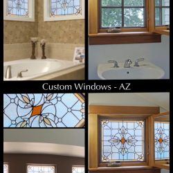 """Gridded image of four pictures. Before picture shows a honey brown 4-grid window in a bathroom. After pictures show that this window and other ins the bathroom have been upgraded with a, orange and blue stained glass design. With words """"Custom Windows - AZ""""."""