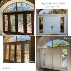 """Gridded image of four pictures. Two pictures of a plain white french door before. Two pictures of a glass and iron french door after. With words """"Royal Ark Iron in Glass, Las Vegas, NV""""."""