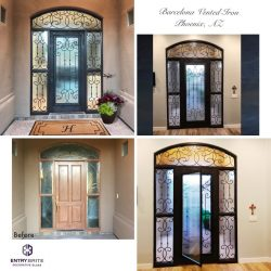 """Gridded image of four pictures. 1 picture of a brown wooden door before. 3 pictures of an iron and glass entry door after. With words """"Barcelona Vented Iron, Phoenix, AZ""""."""