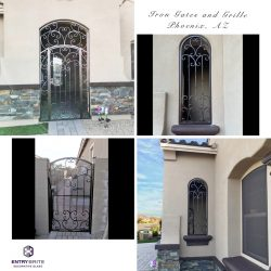 """Gridded image of three different wrought iron gates and window grills. With words """"iron gates and grille, Phoenix, AZ""""."""