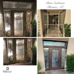 """Gridded image of four different patio enclosure, before and after. With words """"Patio Enclosure, Phoenix, AZ""""."""