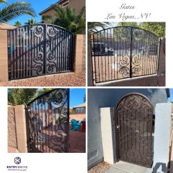 """Gridded image of four different black iron gates with words """"Gates, Las Vegas, NV""""."""