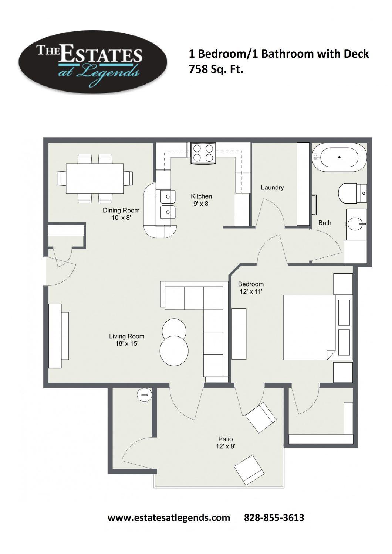 2d - 1 Bedroom 1 Bathroom with Deck