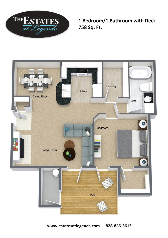 3d - 1 Bedroom 1 Bathroom with Deck